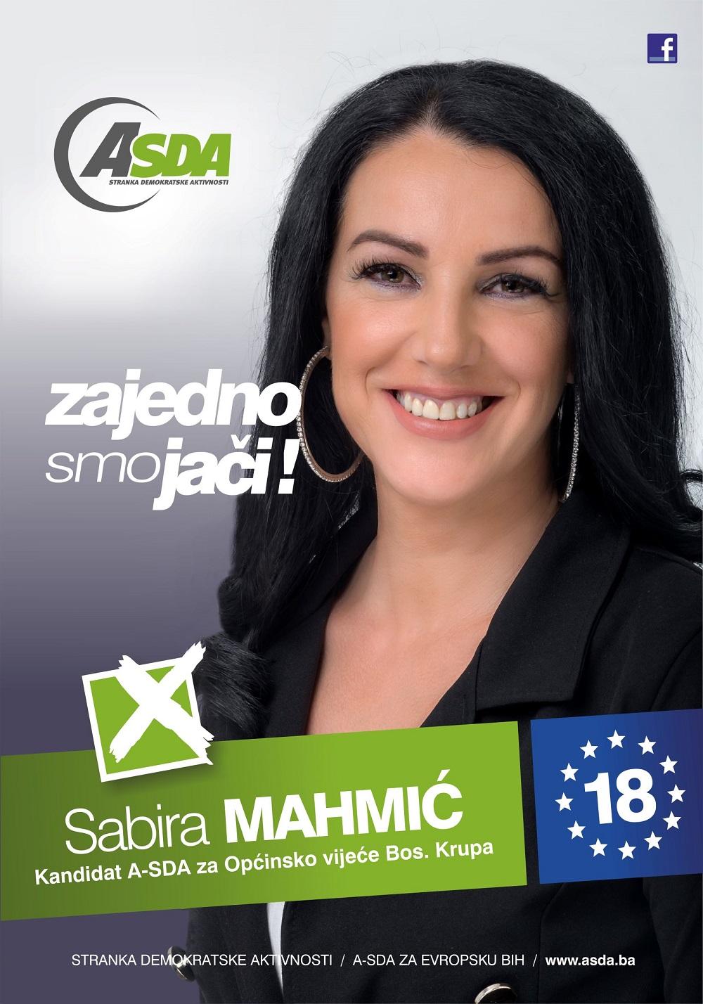 Sabira Mahmić je rođena 1979. godine i član je MO Mahmić selo. Završila je srednju školu u Bužimu. Udata je i majka dvoje djece.